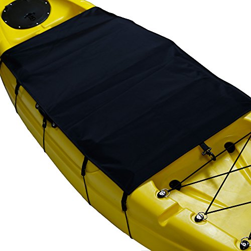 Omonic 2.2x3.9ft Durable Thick Waterproof Cockpit Drape Seal Kayak Cover Seat Cover fit Almost Kayak - Strentch Adjustable Bungee Cords wrap Perfect for Storage (Trophy Beach Future)