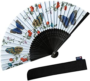 Salutto Handheld Floral Pattern Fabric Fans Summer Cools Perfect for Weddings, Parties and Church Events Butterfly