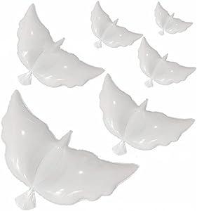12-Pack Huge Dove Helium Balloons for Weddings, NALAKUVARA White Peace Flying Pigeon Eco-Friendly Biodegradable Balloon