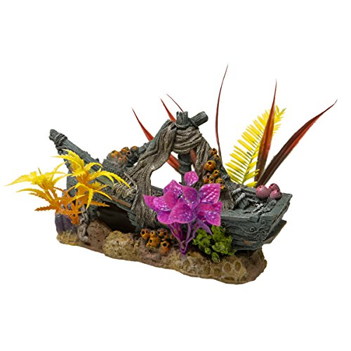 (Blue Ribbon EE-1746 Exotic Environments Sunken Ship Floral Aquarium)