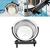 OWIKAR Stainless Steel Dog Bowl Hanging On Cage 4.33 x 1.38 inch For Small Puppy Dogs Removable Pet Bowls Bird Cat Dog Food Water Bowl with Fixed Mount(XS)