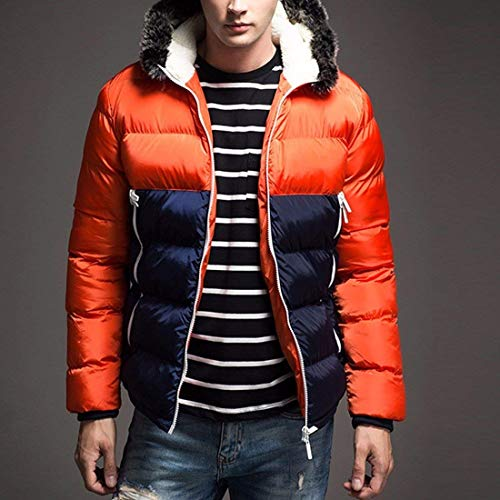 Quilted Jacket with Winter Sport Orange Cotton Coat Outerwear Winter Men's Zipper Sleeve Jacket Long Hooded Apparel IzPwqfW4
