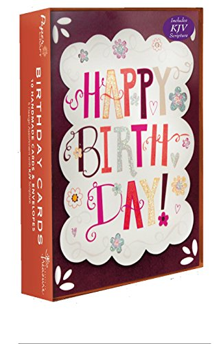 Assorted Handmade Embellished Birthday Cards 10 Pack Box Set, For Him, Dad, Husband, Son Daughter, Her, Girl or Boy with KJV Scripture, Embellished wi…