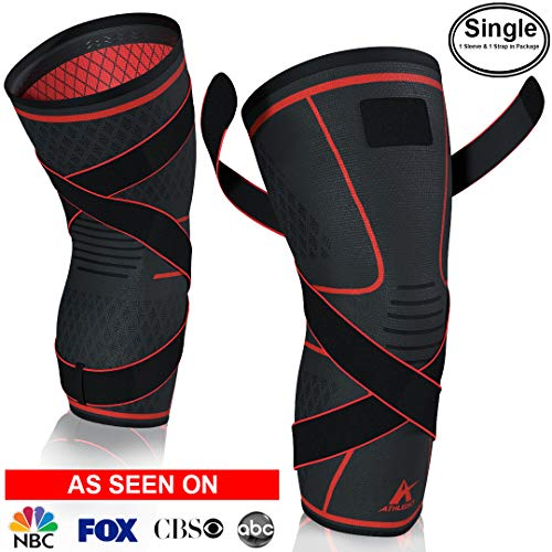Athledict Knee Brace Compression Sleeve with Strap for Best Support & Pain Relief for Meniscus Tear, Arthritis, Running, Basketball, MCL, Jogging, Crossfit & Surgery Recovery for Men & Women (XXL)
