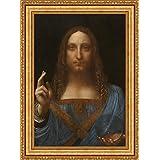 Leonardo da Vinci Salvator Mundi Framed Canvas Giclee Print - Finished Size (W) 28.1'' x (H) 38.1'' [Gold] (V03-18K-MD535-01)