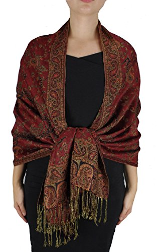 Peach Couture Elegant Double Layer Reversible Paisley Pashmina Shawl Wrap Maroon Scarf