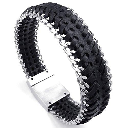 Epinki Stainless Steel Bracelet, Mens Weave Round Bracelet Silver Black Length 8.5 Inch