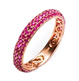 18K Gold Ring,1.2Ct Round Cut Certified Diamond Pink Ruby Ring Wedding Ring for Women Bride Size 9