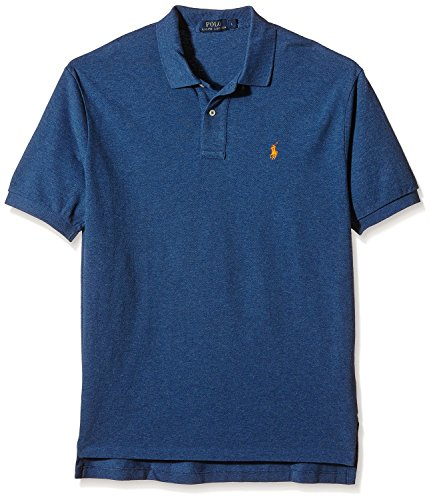 Polo Ralph Lauren Mens Classic Fit Mesh Polo Shirt, Dark Blue with Orange Pony - X-Large