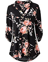 Woman Womens Long Sleeve Floral Printed Roll-up Top Casual Button Layered Blouses