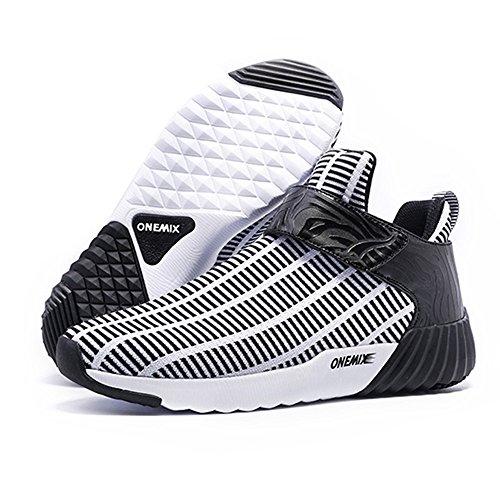 Herren Mid Fashion Laufschuhe ZEBRA Stripe Mesh Active Jogger Sneaker Weiß schwarz