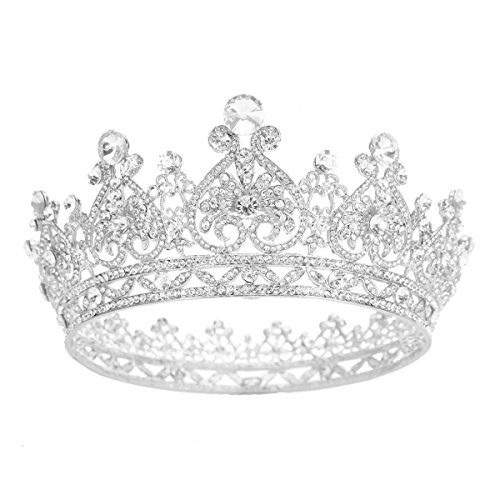 SSNUOY Silver Plated Rhinestone Full Round Wedding Crown for Brides Bridal Hair Jewelry