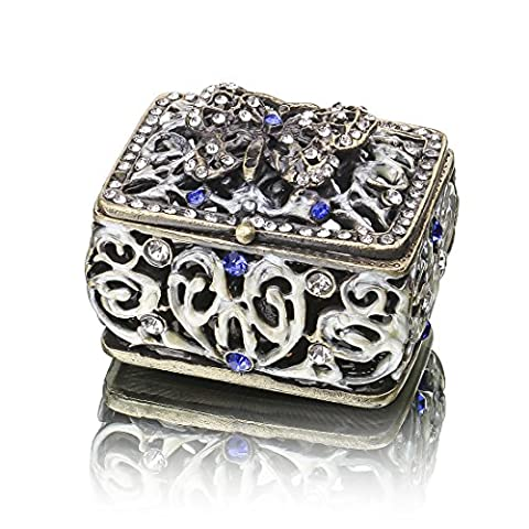 YUFENG Mini Vintage Hollow Engraving Butterfly Trinket Box Hinged For Girls, Handmade Trinket Jewelry Box (Butterfly Jewelry Dish)