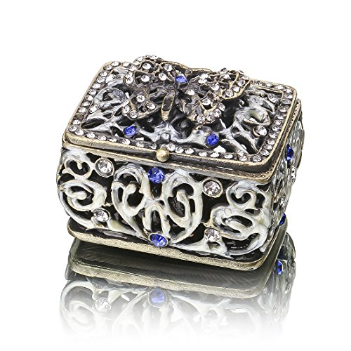 YUFENG Mini Vintage Hollow Engraving Butterfly Trinket Box Hinged Girls, Handmade Trinket Jewelry Box Decorated ()