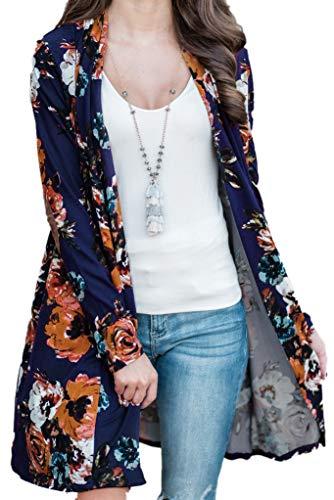Regular Spring Floral Cardigans for Women Floral Print Long Sleeve Coverup Blouse S
