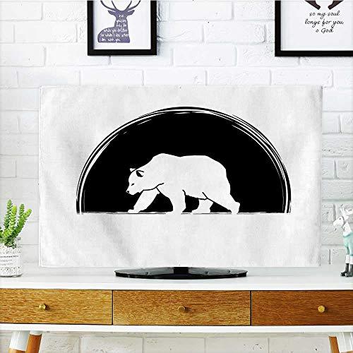 Auraisehome Television Protector Polar Bear Walking Side View Furry Creature Arctic Mammal Illustration Black and White Television Protector W20 x H40 INCH/TV 40