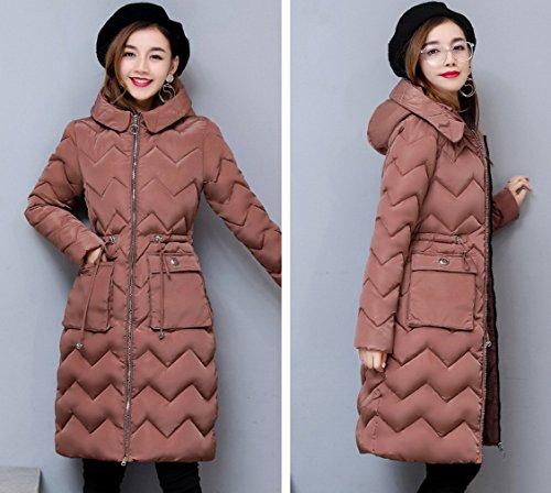 acolchado de casual chaqueta de Mujeres la abrigo capa Ladrillo de caliente Rojo algodón COMVIP Capucha 4CqURC
