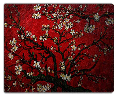 Meffort Inc Mouse Pad with Stitched Edges & Non-Slip Base, Smooth Silk Surface Gaming Mousepad - Van Gogh Cherry Blossoming
