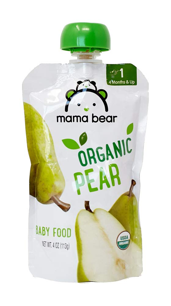 Amazon Brand - Mama Bear Organic Baby Food Pouch, Stage 1, Pear, 4 Ounce Pouch
