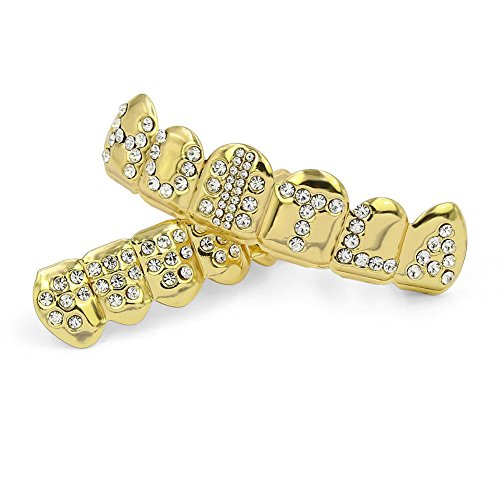 18K Gold Plated Hip Hop Iced out Hustla Grills for Your Teeth Top and Bottom Teeth Caps Grillz Sets