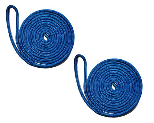 (Starr Lines Double Braid Polypropylene Dock Lines (2-Pack) (Blue, 3/8-Inch X 15-Feet))