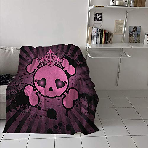 Maisi Warm Microfiber All Season Blanket, Cute Skull Illustration with Crown Dark Grunge Style Teen Spooky Halloween Print, Velvet Plush Throw Blanket 60x50 Inch Pink Black]()