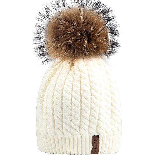 FURTALK Women Lady Girls Crochet Knit Fur Hat with Real Fox Fur Pom Pom Bobble Winter Beanie Hat ()