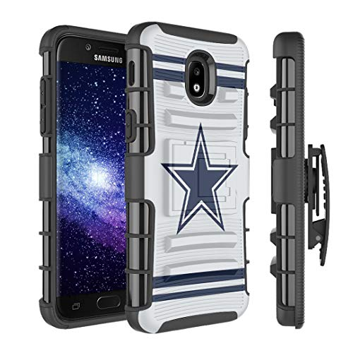 Cowboys Cell Phone Case - HRWireless Capsule Case Compatible with Samsung Galaxy J7 2018 (J737), J7 Star, J7 Aero, J7 Refine, J7V 2nd Gen, J7 Crown, J7 Eon [Armor Kickstand Holster Combo Case Black] - (Cowboy)