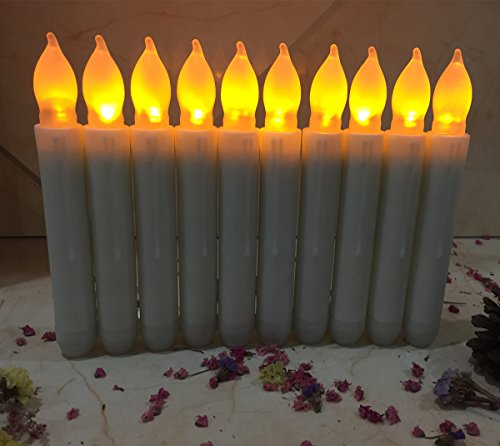 Most Realistic Christmas Tree - Flameless Taper Candles Set of 12 Led Electric Candles Battery Powered Taper Candles Long Yellow Flicker Lights Realistic Christmas Candles for Birthday Party Chandelier Fireplace Led Lighting Decor