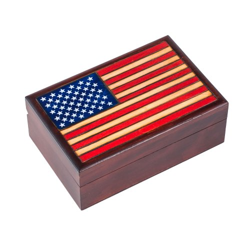 American Flag Stars and Stripes Hand Crafted Real Wood Keepsake Box - Made in Poland Decorative Lacquered Wood Box