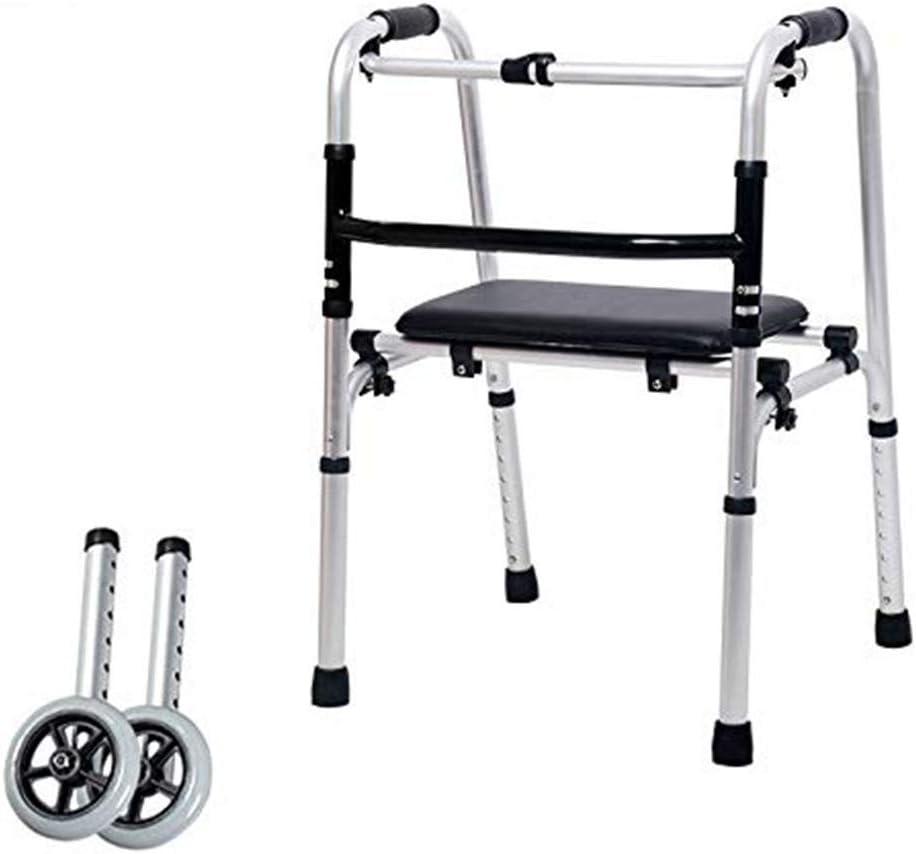 SHHYD Andador para Personas Mayores con Discapacidad, Ligero Aluminio Un Botón Plegable Caminante Cojín De Masaje con 2 Ruedas,C