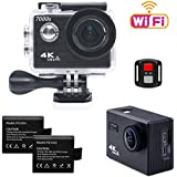 TEKCAM 7000S 4K WiFi Sports Action Camera Ultra HD 12MP Waterproof Camera Camcorder 170 Degree Wide Angel 2.4G Remote Control / 2 Rechargeable 1050mAh Batteries/Mounting Accessories