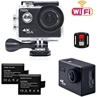 TEKCAM 7000S 4K Wifi Sports Action Camera Ultra HD 12MP Waterproof Camera Camcorder 170 Degree Wide Angel with 2.4G Remote Control / 2 Rechargeable 1050mAh Batteries / Mounting Accessories