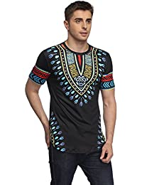 Men's Short Sleeve African Dashiki Graphic Hipster Hip Hop Curved Hem T-Shirt