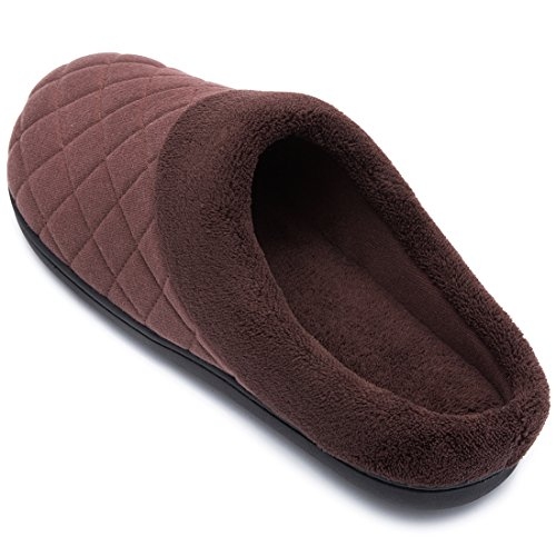 Men's Comfort Quilted Memory Foam Fleece Lining House Slippers Slip On Clog House Shoes Coffee gAfGAIu