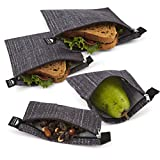 Nordic By Nature Premium Black Sandwich & Snack bags | Designer Set of 4 Pack | Resealable, Reusable and Eco Friendly Dishwasher Safe Lunch Bags | Functional Easy Open Zipper | Great Lunch & Meal Prep