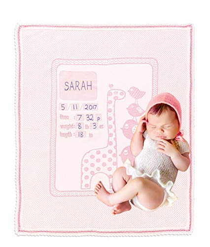 Chiara Rose Milestone Newborn Baby Blanket Personalized Photography Background First Day Toddler Blanket Giraffe Pink