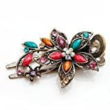 A01 Vintage Style Colorful Floral Hair Barrette/Clip with Swarovski Crystals