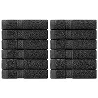 Utopia Towels – Toallitas de algodón de lujo (paquete de 12, gris, 30 x 30 cm)