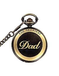Mens Retro Full Hunter Design for Dad Quartz Pocke Watch with Chain