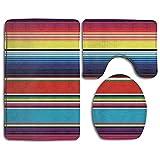 Novel Colorful Mexican Blanket Stripes Prints 3 Piece Non-Slip Bathroom Rugs Set Living Room Anti-skid Pads Bath Mat + Contour + Toilet Lid Cover