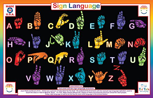 Tot Talk Sign Language Educational Placemat for Kids, Washable and - Mat Sign