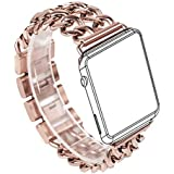 For Apple Watch Band, Wearlizer Stainless Steel Watch Band Strap for Both Apple Watch Series 1 and Series 2 - 38mm Rose Gold