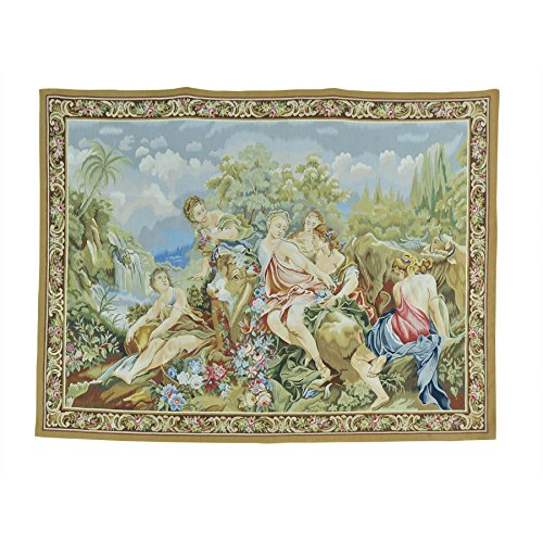 Hand Woven Aubusson Tapestry (1800 Get A Rug Wall Hanging Aubusson Tapestry Handmade Pure Wool Flat Weave (5'4 x7'0))