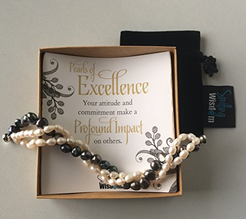 Tone Two Strand (Limited Edition - Pearls of Excellence Employee Award & Recognition- 3 Strand 2-Tone Cultured Freshwater Pearl Bracelet, (7-8mm, 4-5mm) with Magnetic Clasp - Thank You Employee)