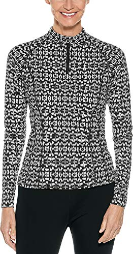 Coolibar UPF 50+ Women's Long Sleeve Freestyle Rash Guard - Sun Protective (X-Large- Black Tribal Ikat -