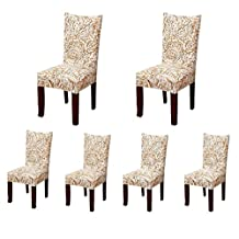Deisy Dee Stretch Chair Cover Removable Washable for Hotel Dining Room Ceremony Chair Slipcovers Pack of 6 (D)