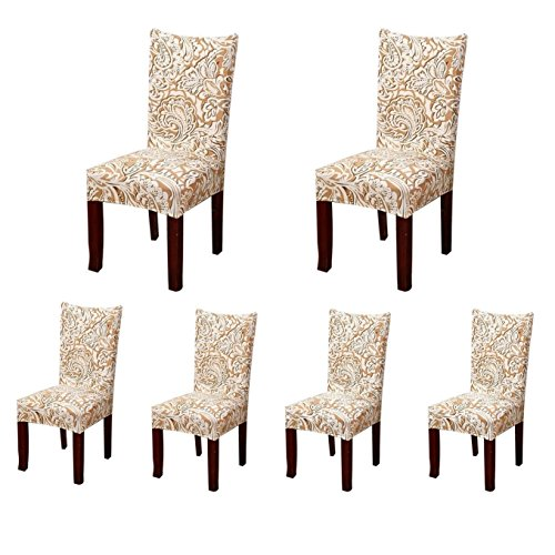 Deisy Dee Stretch Chair Cover Removable Washable for Hotel Dining Room Ceremony Chair Slipcovers Pack of 6 (Pack Dining Room Set)