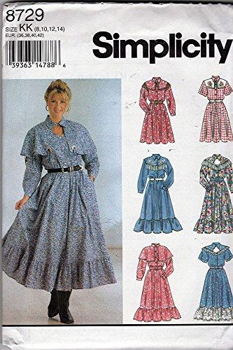 Simplicity 8729 Misses Western Style Dress Size KK (8-10-12-14) (The Square Dress Dance)