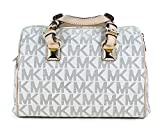 Michael Kors MD Grayson Satchel Handbag Signature MK Vanilla PVC with Cross Body Strap
